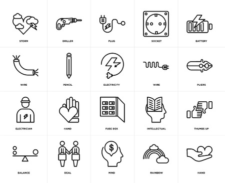 Set Of 20 icons such as Hand, Rainbow, Mind, Deal, Balance, Battery, Wire, Fuse box, Electrician, Pencil, Plug, web UI editable icon pack, pixel perfect