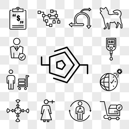Set Of 13 transparent editable icons such as synapse, place order, metabolism, woman gender, allocation, daylight savings, suppliers, blood sugar, user, web ui icon pack, transparency set Illustration