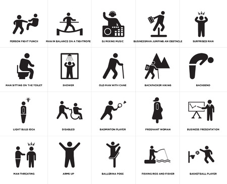 Set Of 20 simple editable icons such as Backbend, Ballerina pose, Arms up, Man sitting on the Toilet, Old man with cane, web UI icon pack, pixel perfect