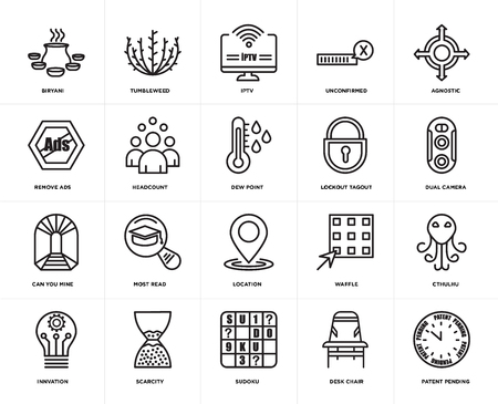 Set Of 20 simple editable icons such as patent pending, dual camera, agnostic, unconfirmed, innvation, tumbleweed, waffle, remove ads, web UI icon pack, pixel perfect