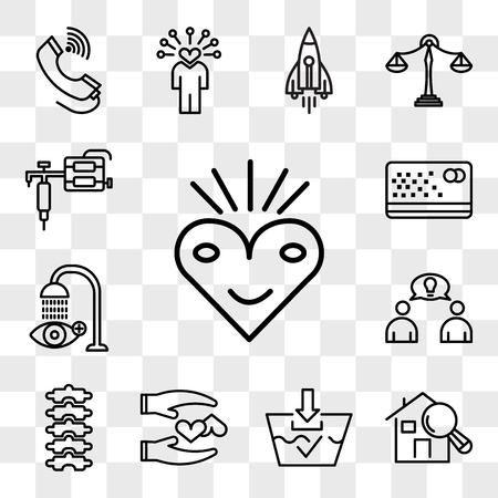 Zestaw 13 przezroczystych ikon do edycji, takich jak błogość, inspektor domowy, zmywalny, lojalny, kręgarz, założyciel, płukanie oczu, karta dziurkowana, pistolet do tatuażu, pakiet ikon interfejsu internetowego, zestaw przezroczystości