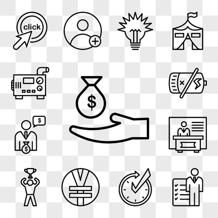 Set Of 13 transparent editable icons such as subsidy, roles and responsibilities, realtime, rmb, achive, exhibitors, cfo, dead battery, diesel generator, web ui icon pack, transparency set Illustration