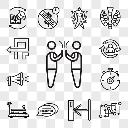 Set Of 13 transparent editable icons such as hi five, methodology, turnstile, thank you, telegraph, chrono, spread the word, lifecycle, pivot, web ui icon pack, transparency set