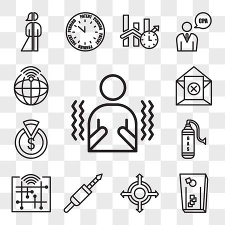 Set Of 13 transparent editable icons such as shivering, cornhole, agnostic, 3.5 mm jack, digitalisation, gaz, capex, unsubscribe, telemetry, web ui icon pack, transparency set