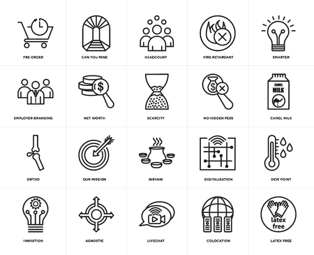 Set Of 20 icons such as latex free, colocation, livechat, agnostic, innvation, smarter, no hidden fees, biryani, ortho, net worth, headcount, web UI editable icon pack, pixel perfect