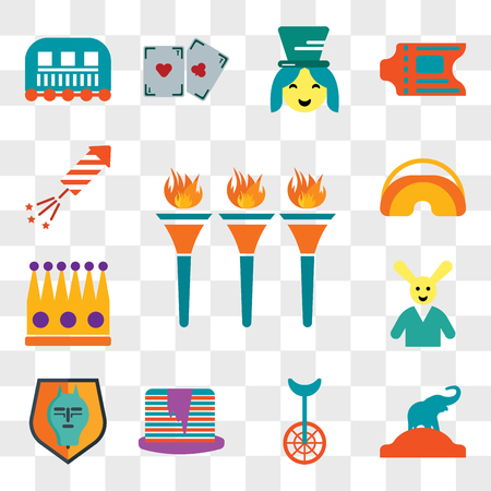 Set Of 13 transparent editable icons such as Flambeaux, Elephant, Unicycle, Pancakes, Quema del mal humor, Magician, Crown, Eye mask, Fireworks, web ui icon pack, transparency set 矢量图像