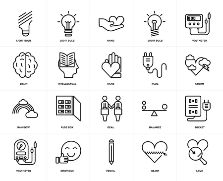 Set Of 20 icons such as Love, Heart, Pencil, Emotions, Voltmeter, Plug, Deal, Rainbow, Intellectual, Hand, web UI editable icon pack, pixel perfect Illustration