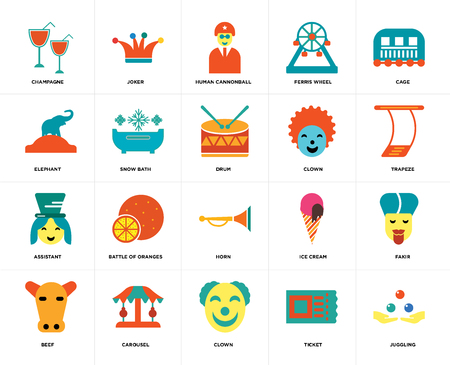 Set Of 20 icons such as Juggling, Ticket, Clown, Carousel, Beef, Cage, Horn, Assistant, Snow bath, Human cannonball, web UI editable icon pack, pixel perfect