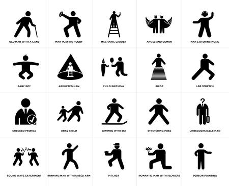 Conjunto de 20 iconos editables sencillos como estiramiento de piernas, lanzador, Running Man con brazo levantado, Baby Boy, cumpleaños infantil, paquete de iconos de interfaz de usuario web, pixel perfect