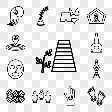 Set Of 13 transparent icons such as walkway and a plant, Flowers on human feet, Hand with an spiral, Spa, Couple of half oranges, Acupuncture needles, web ui editable icon pack, transparency