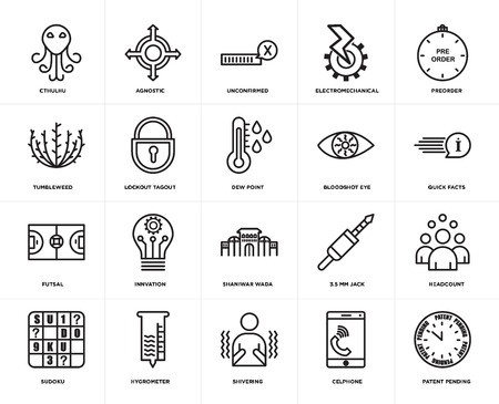 Set Of 20 simple editable icons such as patent pending, quick facts, preorder, electromechanical, sudoku, agnostic, 3.5 mm jack, tumbleweed, web UI icon pack, pixel perfect Banco de Imagens - 106754382