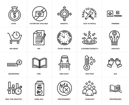 Set Of 20 simple editable icons such as proofreading, innvation, prerende, easy to install, real time analytics, picture not available, dew point, pre order, web UI icon pack, pixel perfect 일러스트