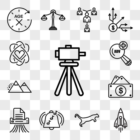 Set Of 13 transparent editable icons such as surveyor, stellar lumens, cougar, ringtone, shding, capital expense, avalanche, advanced search, core value, web ui icon pack, transparency set