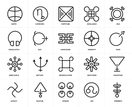 Set Of 20 icons such as Strength, Leo, Wisdom, Sulphur, Loyalty, Wax, Ingenuity, Reconciliation, Gods shield, Salt, Fortitude, web UI editable icon pack, pixel perfect