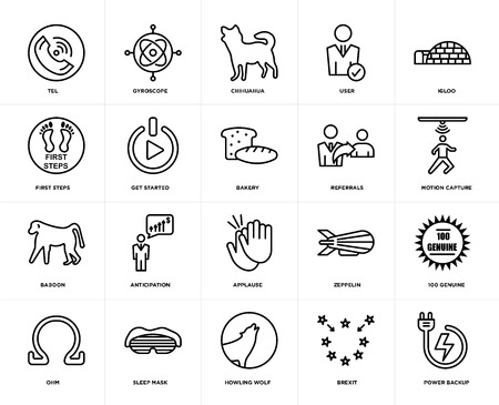 Set Of 20 icons such as power backup, brexit, howling wolf, sleep mask, ohm, igloo, referrals, applause, baboon, get started, chihuahua, web UI editable icon pack, pixel perfect