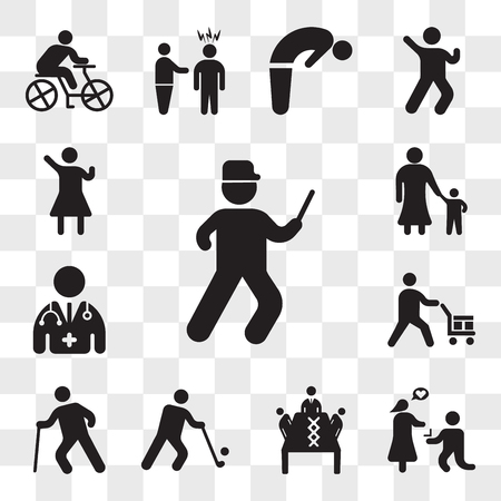 Set Of 13 transparent icons such as Running cop, Marry me, Business meeting, Golfer, Old man walking, Worker loading boxes, Doctor, Mother with her son, web ui editable icon pack, transparency set