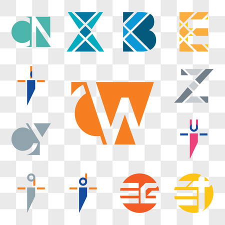 Set Of 13 transparent editable icons such as CW, WC, Et tE, EG GE, di id, qi iq, ui iu, CY, YC, Z Letter, ii, web icon pack, transparency set