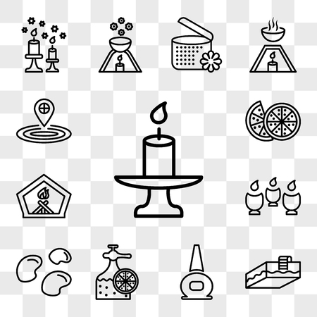 Set Of 13 transparent icons such as candle, Swimming pool, nail polish bottle, Fragrance mineral stones, Spa, Fireplace, Couple of half oranges, web ui editable icon pack, transparency set