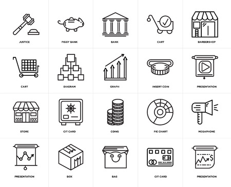 Set Of 20 icons such as Presentation, Cit card, Bag, Box, Barbershop, Insert coin, Coins, Store, Diagram, Bank, web UI editable icon pack, pixel perfect Illustration