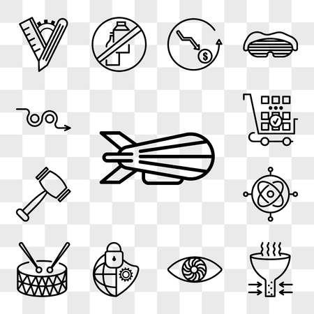 Set Of 13 transparent editable icons such as zeppelin, bottleneck, hypnosis, cybersecurity, marching band, gyroscope, rubber hammer, more products, avoid, web ui icon pack, transparency set  イラスト・ベクター素材