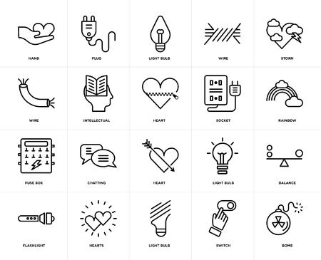 Set Of 20 icons such as Bomb, Switch, Light bulb, Hearts, Flashlight, Storm, Socket, Heart, Fuse box, Intellectual, web UI editable icon pack, pixel perfect
