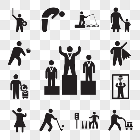 Set Of 13 transparent icons such as Podium, Worker loading boxes, Zebra crossing, Golfer, Woman Winning Gesture, Shower, Call taxi, man Flying, web ui editable icon pack, transparency set