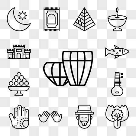 Set Of 13 transparent editable icons such as Tablas, Burning Bush, Rabbi, Dua Hands, Henna painted hand, Sitar, Laddu, Fish, Solomon Temple In Jerusalem, web ui icon pack, transparency set Illustration