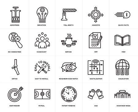 Set Of 20 icons such as shaniwar wada, dua, patent pending, futsal, our mission, quick facts, rfp, neighborhood watch, ortho, headcount, toll booth, web UI editable icon pack, pixel perfect