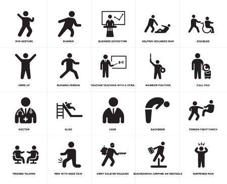 Set Of 20 simple editable icons such as Surprised Man, Call taxi, Disabled, Helping wounded man, Friends talking, Runner, Backbend, Arms up, web UI icon pack, pixel perfect Illustration