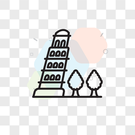 Pisa tower vector icon isolated on transparent background, Pisa tower logo concept