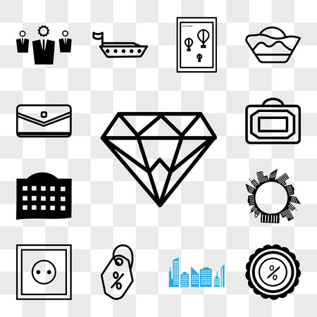 Set Of 13 transparent editable icons such as Diamond, Discount tag, , Price Wall poster or frame with smile, Bag, Sms message, web ui icon pack, transparency set Illustration