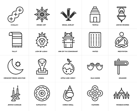 Set Of 20 simple editable icons such as Mosque Domes, Meditation, Jewish Incense, Temple, Candles, Arabic Art, Dua Hands, Tallit, web UI icon pack, pixel perfect