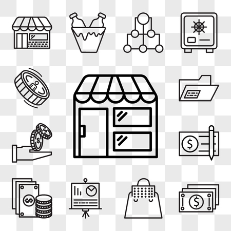 Set Of 13 transparent editable icons such as Store, Notes, Bag, Presentation, Change, Check, Get money, Record, Coin, web ui icon pack, transparency set