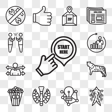 Set Of 13 transparent editable icons such as start here, ginseng, deep learning, thyroid, popcorn kernel, golden tiger, versatility, b2c, hi five, web ui icon pack, transparency set