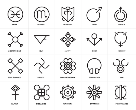 Set Of 20 icons such as Perseverance, Craftiness, Authority, Excellence, Sulphur, Uranus, Silver, Gods protection, guidance, Aqua, Devotion, web UI editable icon pack, pixel perfect