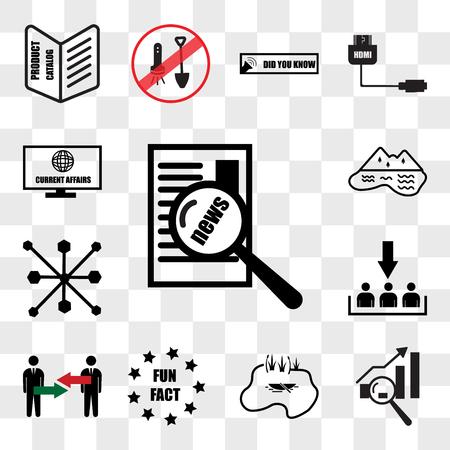 Conjunto de 13 iconos transparentes como asuntos de actualidad, análisis de brechas, lago, dato curioso, conflicto de intereses, adquisición de clientes, multicanal, paquete de iconos editables de interfaz de usuario web, conjunto de transparencia Ilustración de vector