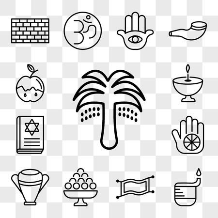 Set Of 13 transparent editable icons such as Palm Tree with Date, Dipa, Magic Carpet, Laddu, Manna Jar, Karma, Torah Book, Religion, Apple and Honey, web ui icon pack, transparency set Illustration