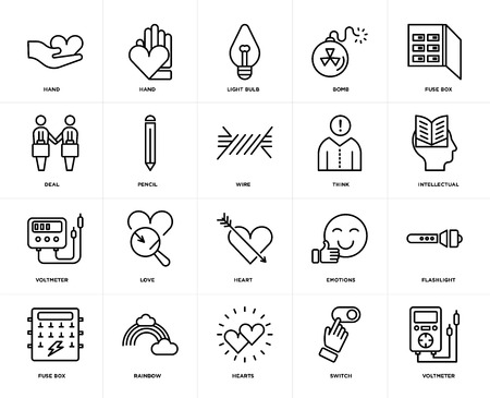 Set Of 20 icons such as Voltmeter, Switch, Hearts, Rainbow, Fuse box, Think, Heart, Pencil, Light bulb, web UI editable icon pack, pixel perfect