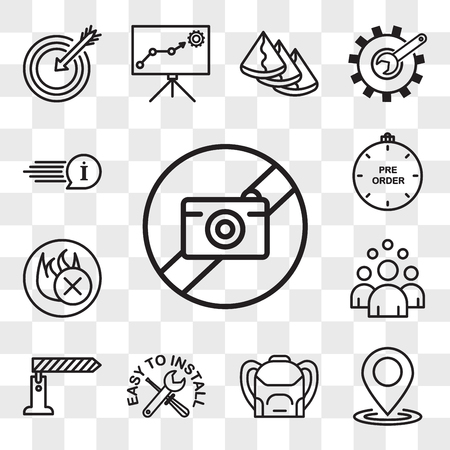 Set Of 13 transparent icons such as picture not available, location, Backpack, easy to install, toll booth, headcount, fire retardant, preorder, web ui editable icon pack, transparency set
