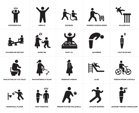 Set Of 20 simple editable icons such as Arms up, Athlete running, Falling man, Man threating, Basketball Player, Person riding a bicycle, Marry me, web UI icon pack, pixel perfect Illustration