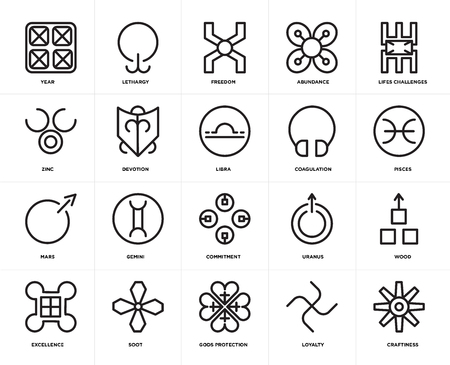 Set Of 20 simple editable icons such as Craftiness, Pisces, Lifes challenges, Abundance, Excellence, Lethargy, Uranus, Zinc, web UI icon pack, pixel perfect