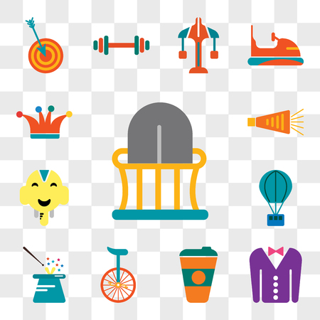 Set Of 13 transparent editable icons such as Balcony, Tuxedo, Coffee cup, Unicycle, Magician, Hot air balloon, Elephant, Noisemaker, Joker, web ui icon pack, transparency set