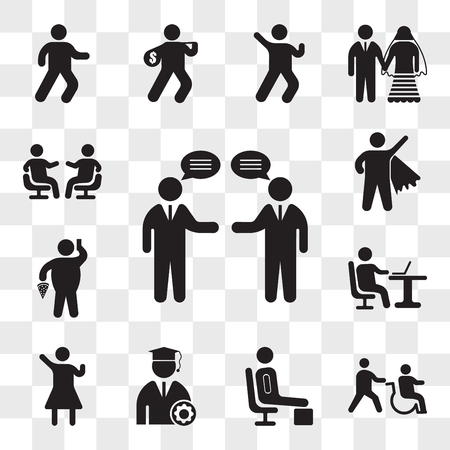 Set Of 13 transparent icons such as Businessmen talking, Disabled, Resting, Graduate Student, Woman Winning Gesture, Working with laptop, web ui editable icon pack, transparency