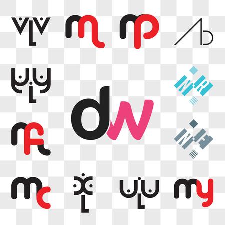 Conjunto de 13 iconos editables transparentes como dw, wd, my o ym, aLa, xL, mc cm, NE EN, mf fm, NR RN, paquete de iconos de interfaz de usuario web, conjunto de transparencias Ilustración de vector