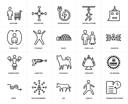 Set Of 20 icons such as transaction history, kung fu, ass, self management, avoid, , family law, chihuahua, cheerleader, stickman, power backup, web UI editable icon pack, pixel perfect