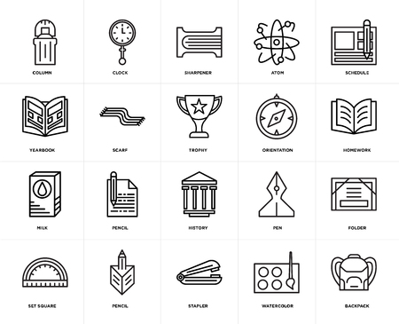 Set Of 20 icons such as Backpack, Watercolor, Stapler, Pencil, square, Schedule, Orientation, History, Milk, Scarf, Sharpener, web UI editable icon pack, pixel perfect