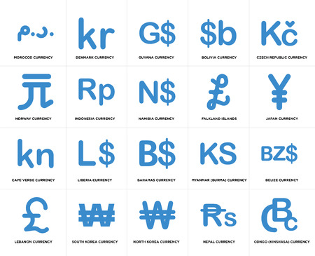 Set Of 20 simple editable icons such as Japan currency, North Korea South Norway Namibia web UI icon pack, pixel perfect