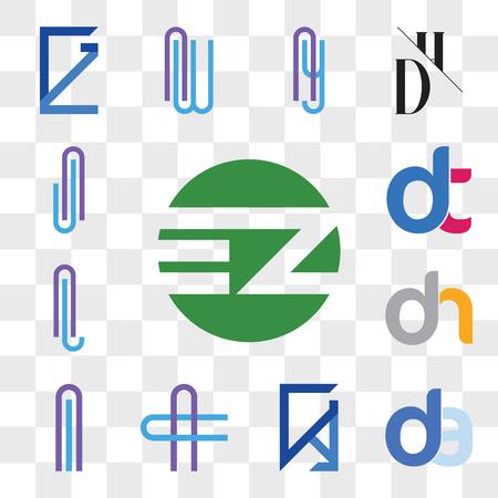 Set Of 13 transparent editable icons such as EZ ZE, da, ad, GY, YG, AC or CA Letter, Al lA dh, hd, AL LA dt, dt, AJ JA web ui icon pack, transparency set