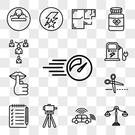 Set Of 13 transparent editable icons such as pace, benchmarking, autonomous vehicle, surveyor, checklist, cut here, hush, ev charging, mentorship, web ui icon pack, transparency set Ilustrace