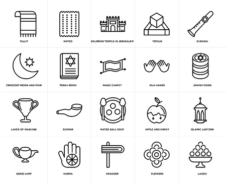 Set Of 20 simple editable icons such as Laddu, Jewish Coins, Shehnai, Tefilin, Genie Lamp, Matzo, Apple and Honey, Crescent Moon Star, web UI icon pack, pixel perfect Illustration